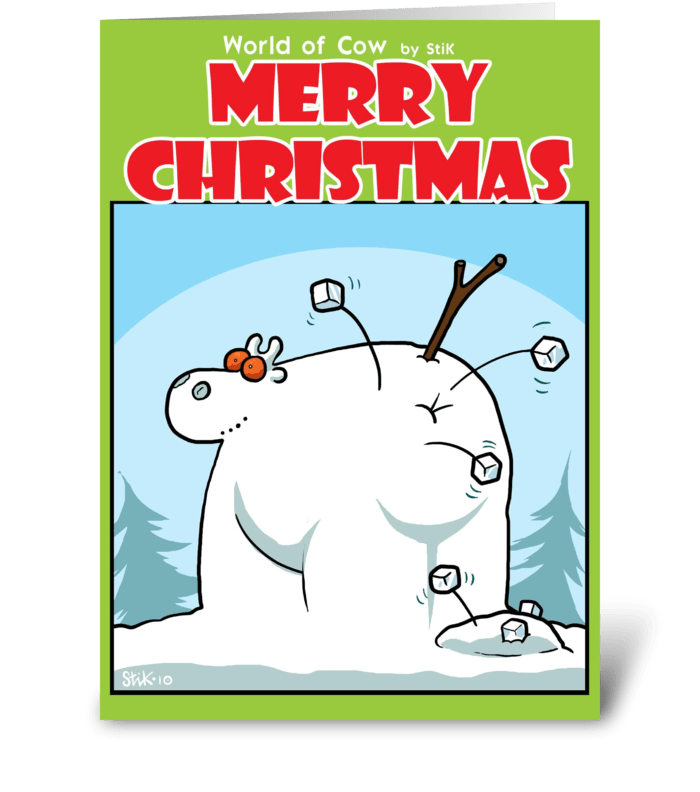 Snow Cow greeting card