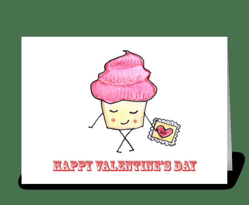 Cupcake Valentine greeting card