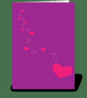 Falling Hearts greeting card