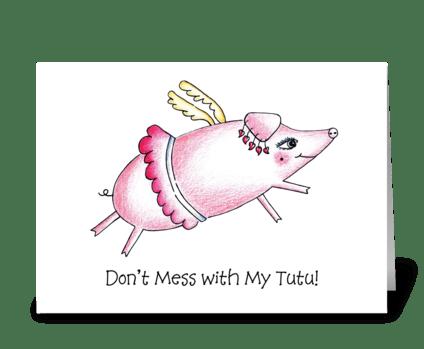 Flying Pig in Tutu greeting card