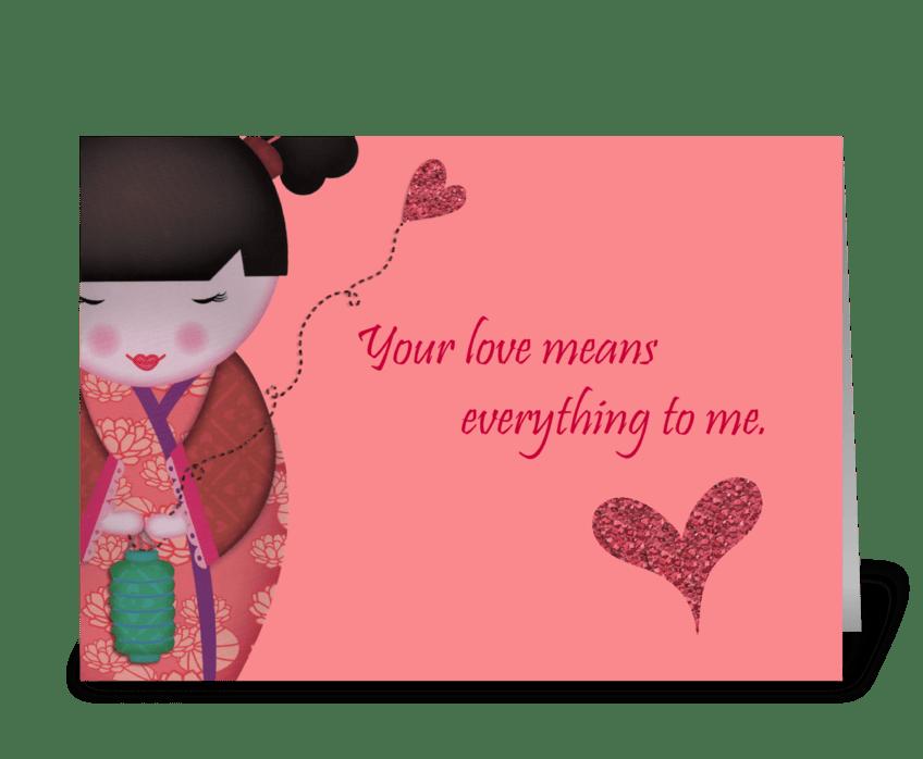Little Geisha Love greeting card