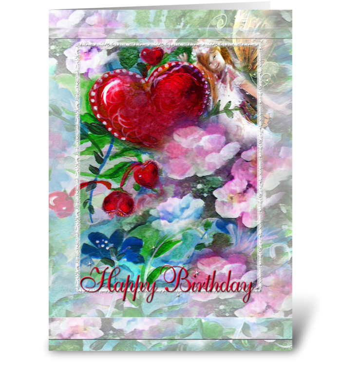 Garden Faery, Hearts & Flowers greeting card