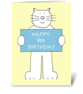 Happy 9th Birthday cute cat. greeting card