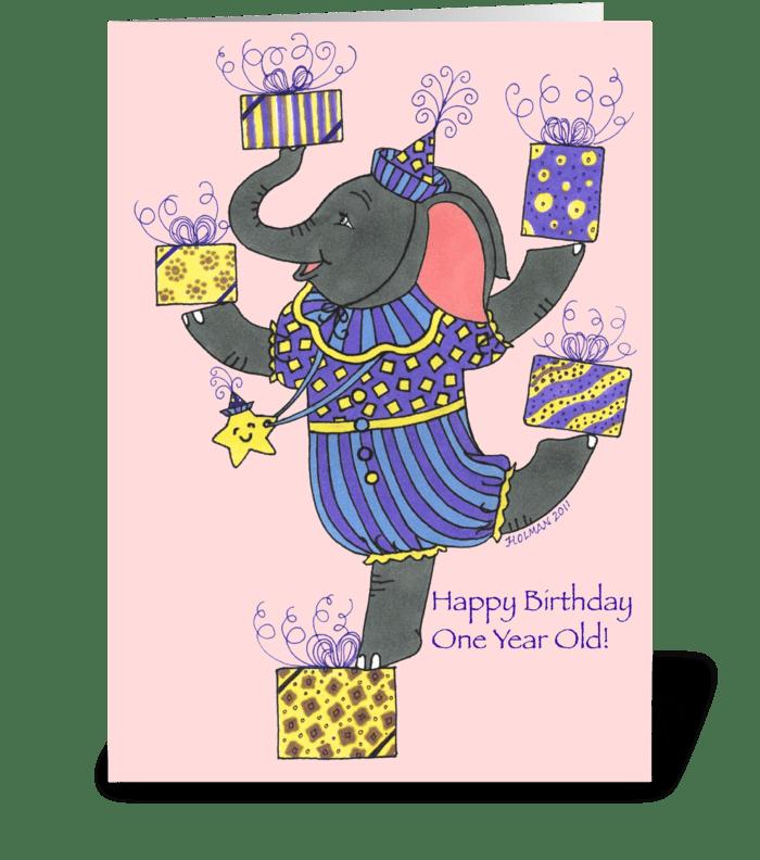 Elephant Happy Birthday One Year Old greeting card