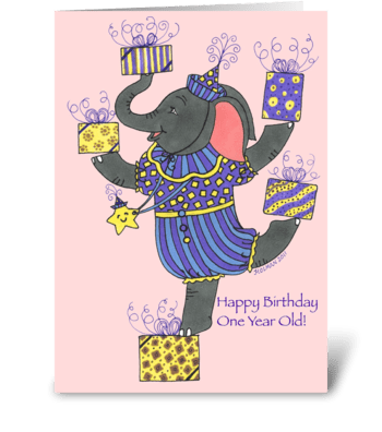 Elephant Happy Birthday One Year Old greeting card