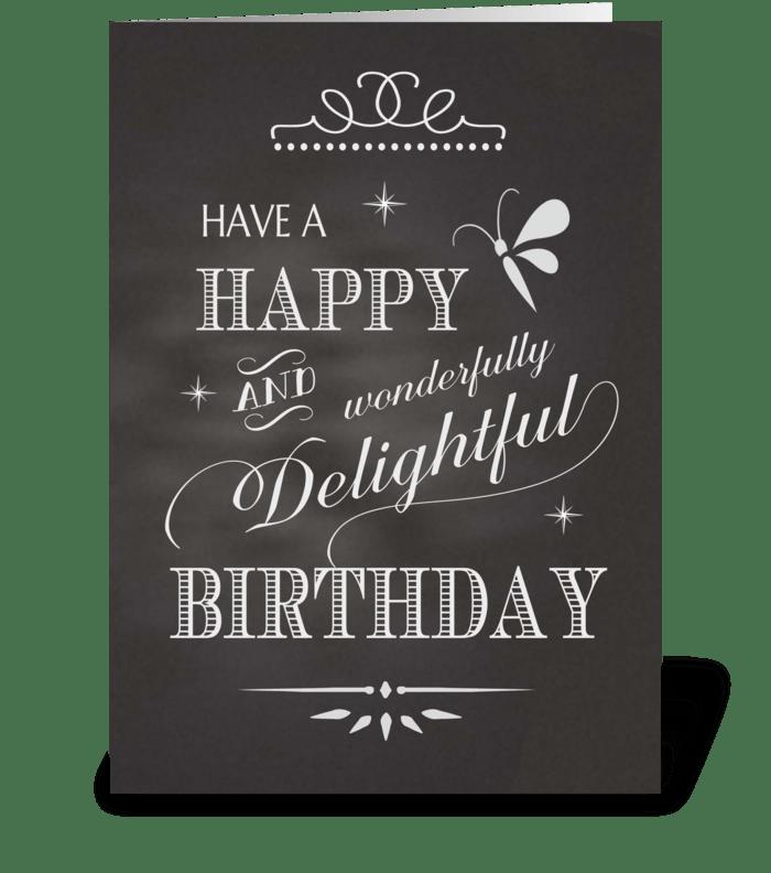 Birthday Chalkboard - Happy Wonderfully  greeting card