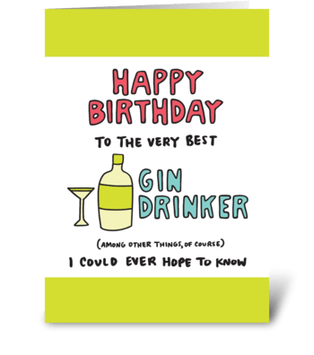 Happy Birthday Gin Drinker greeting card