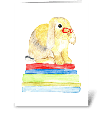 Bunny and Books greeting card