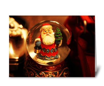 Santa Trapped in a Snow Globe greeting card