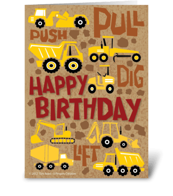 Construction Birthday greeting card