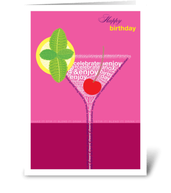 Birthday Cocktail Pink greeting card