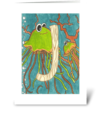 j for Jellyfish greeting card