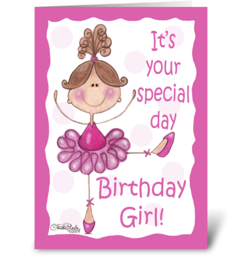 Ballerina for Birthday Girl greeting card
