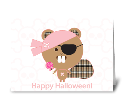 Pirate Beaver Halloween greeting card