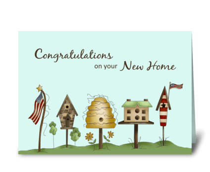 Congratulations on New Home Birdhouses & greeting card