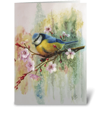 Blue Tit and Plum Blossoms greeting card