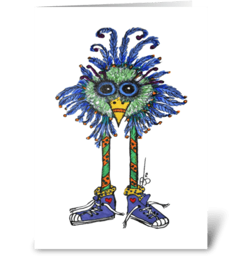 Funky Bird Sneakers greeting card