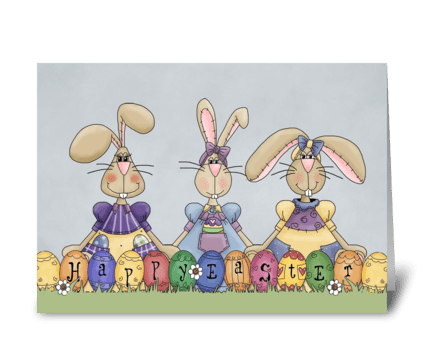 Happy Easter Bunnies & Eggs  greeting card