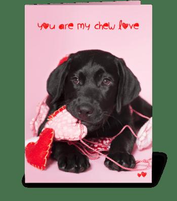 Chew Love Black Labrador Retriever greeting card