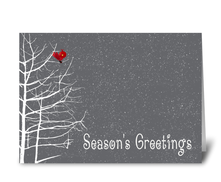 Season\'s Greetings, White Tree, Red Bird - Send this greeting card ...