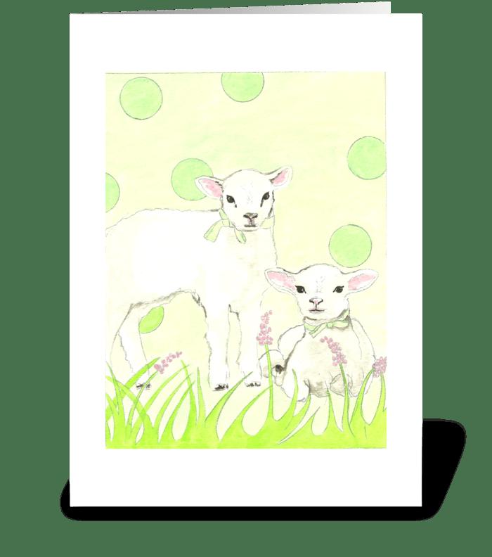 Polka Dot Lambs greeting card
