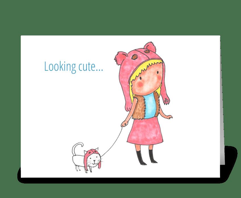 looking cute greeting card