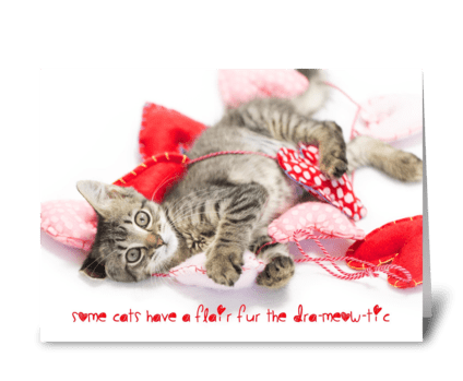 Dramatic cat Valentine greeting card