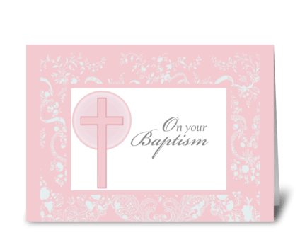 2790 Christening, Pink Lace, Baptism greeting card