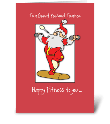 To Personal Trainer Fitness Christmas greeting card