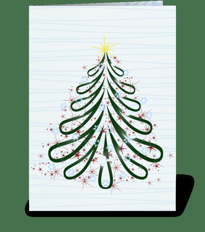 Winter Christmas Tree greeting card
