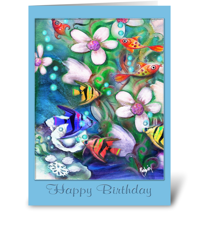 Happy birthday colorful fish send this greeting card designed by happy birthday colorful fish greeting card m4hsunfo