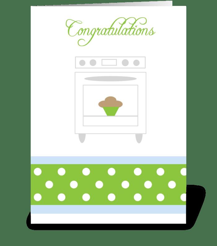 Bun in the oven Green greeting card
