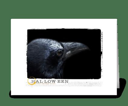 black raven halloween card greeting card