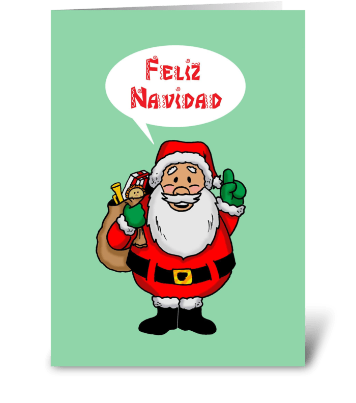 Santa Saying Feliz Navidad greeting card