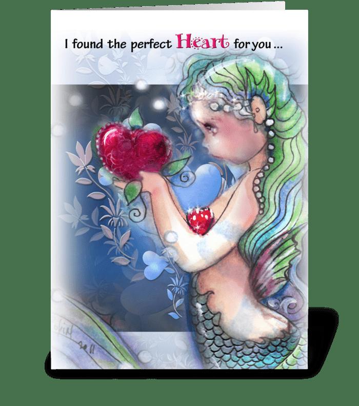the Perfect Heart, Mermaid theme greeting card