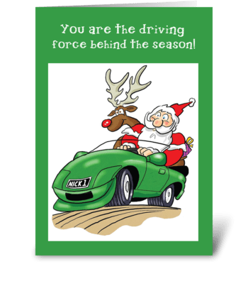 Santa Driving Car Christmas Business greeting card