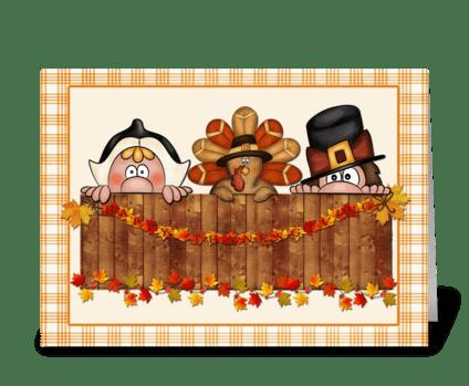 Thanksgiving Pilgrims, Turkey greeting card
