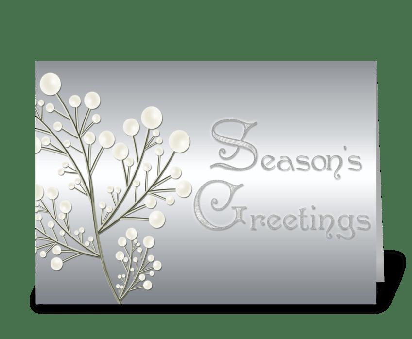 silver seasons greetings greeting card - Seasons Greetings Cards