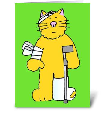 Cat well soon cat on a crutch. greeting card