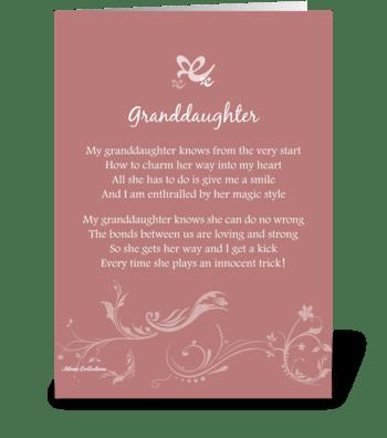 Poetry Granddaughter greeting card