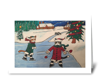 Christmas Ice Skating Cats greeting card