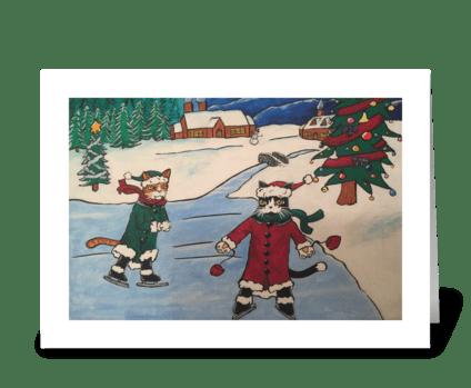 Christmas Ice Skating Cats greeting card