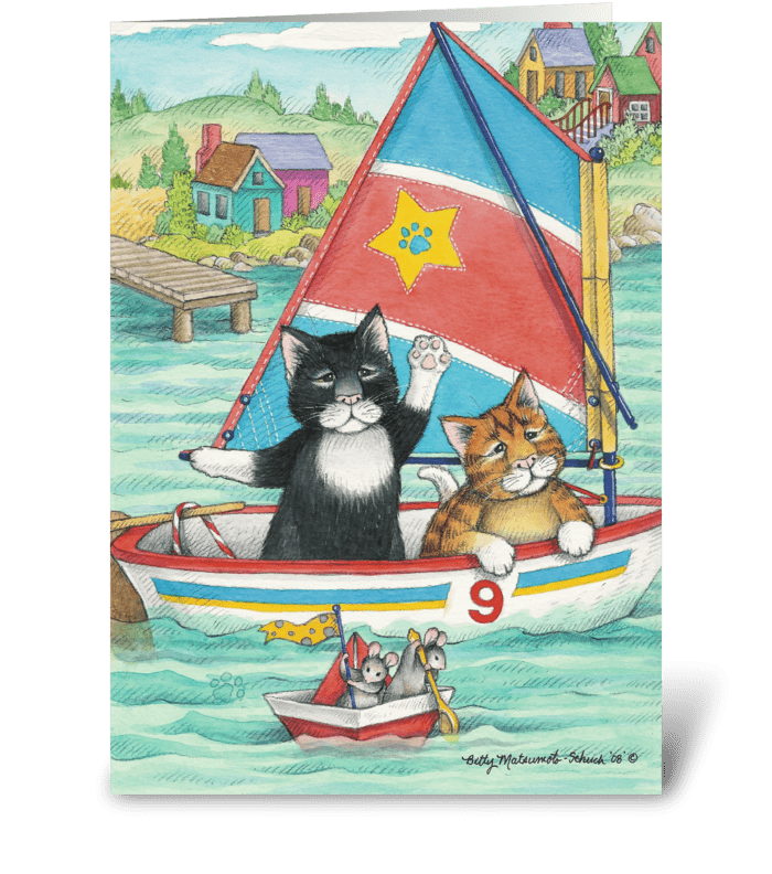 Sailing Cats Birthday #30 greeting card