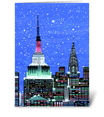 Gotham Spires by Albert J. Pucci greeting card