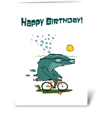 Whale + Bike greeting card