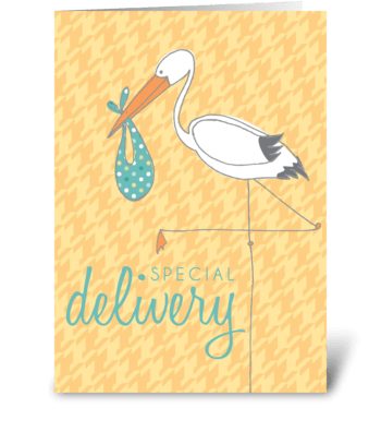 Baby Stork Yellow greeting card