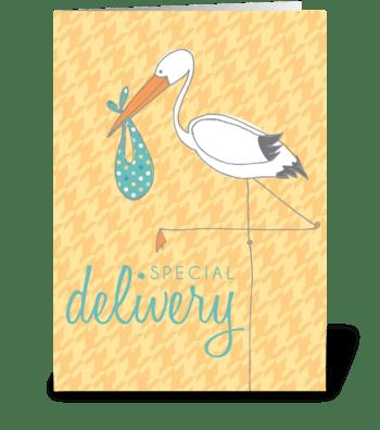 Baby Stork Yellow greeting card