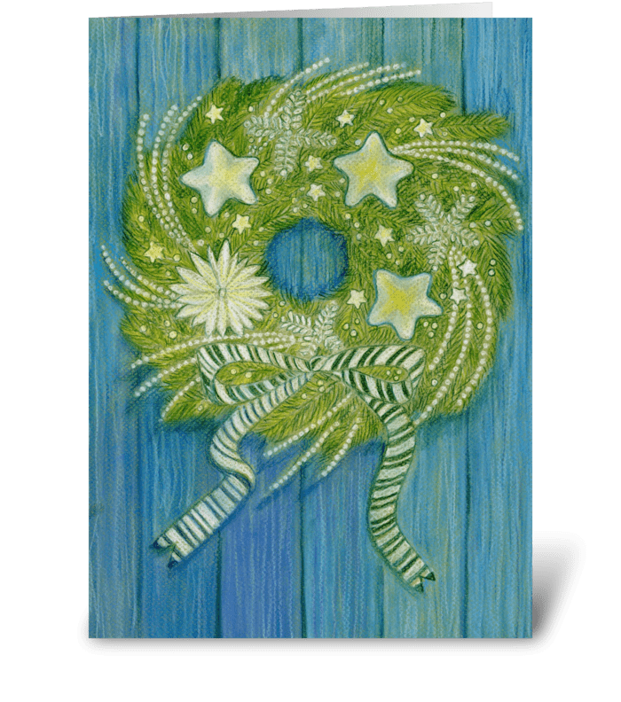 Holiday Wreath on Blue Wall greeting card