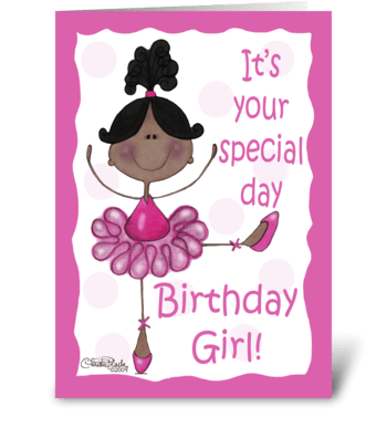 Dark Skin Ballerina-Birthday Girl greeting card