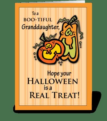 Granddaughter Pumpkins Halloween greeting card